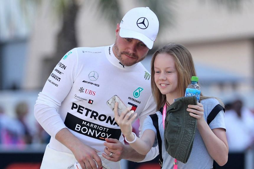 Mercedes driver Valtteri Bottas, taking a selfie with a fan at the Sakhir circuit, was surprised by his excellent performance in Melbourne and expects to get a better picture after the Bahrain and China races.