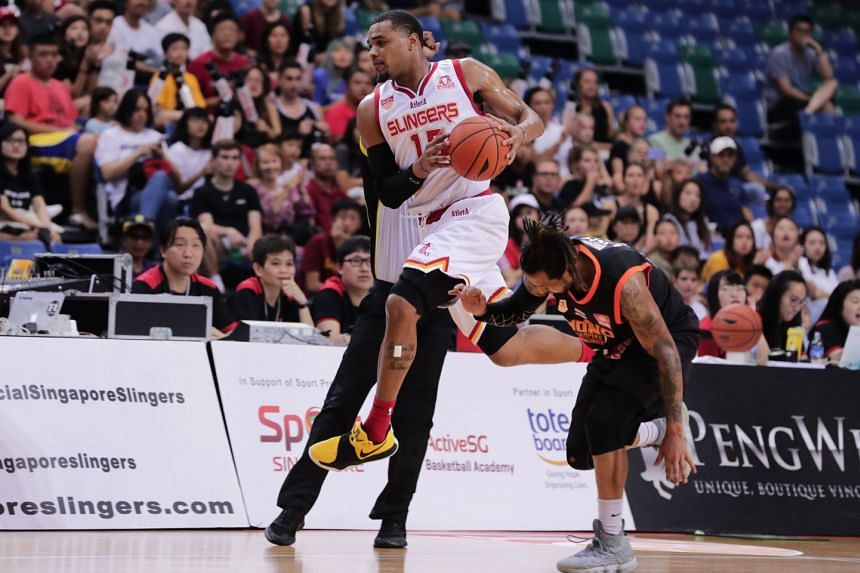 The Singapore Slingers' swingman Xavier Alexander on the offensive against Mono Vampire in their last regular-season game on March 24, 2019 but defence will be important during the ABL play-offs.