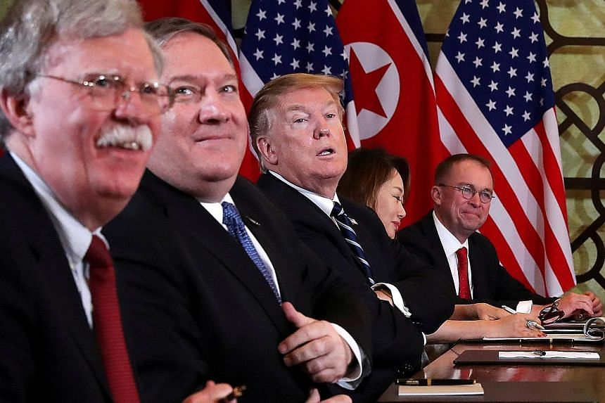 President Donald Trump with (from left) White House national security adviser John Bolton and Secretary of State Mike Pompeo at the talks with North Korea's leader Kim Jong Un in Hanoi on Feb 28, which broke down.