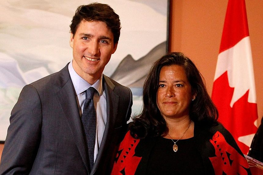 Canada's Prime Minister Justin Trudeau with Ms Jody Wilson-Raybould in a January photo before she quit her Cabinet post.