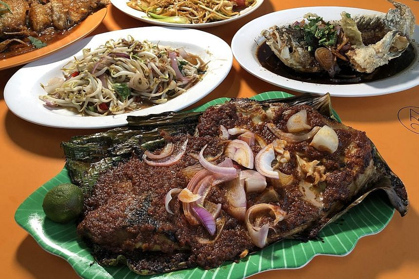 A mini feast good for four, including the signature sambal stingray and salted fish stir-fried with bean sprouts.
