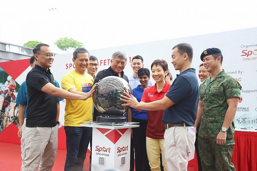 (From left) Sports Safety Committee co-chairman Muhammad Rostam Umar; Sport Singapore deputy chief executive Chiang Hock Woon; Sport Singapore chief executive Lim Teck Yin; Minister for Culture, Community and Youth Grace Fu and Sports Safety Committe