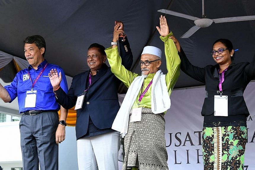 The four contenders for the Rantau seat are (from left) Umno's Mohamad Hasan, Dr S. Streram from PH's Parti Keadilan Rakyat, retired lecturer Mohd Nor Yassin, and former radio host Malar Rajaram.