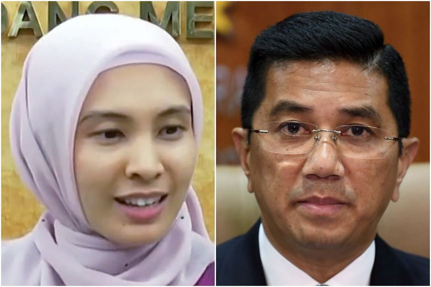 """Malaysian MP Nurul Izzah (left) says she """"will continue to speak in favour of what is right"""", after a tweet from Economic Affairs Minister Azmin Ali seen as an attack on her."""