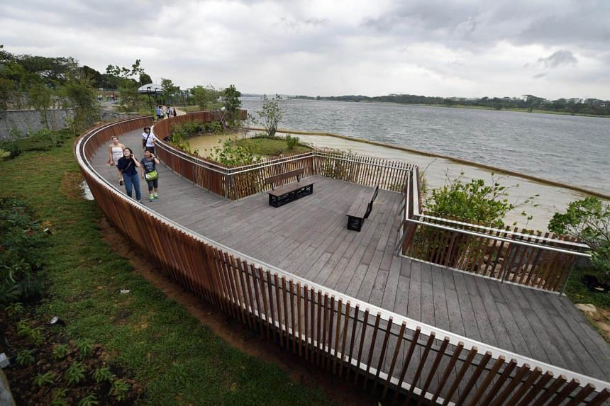 A section of the new walkway and lookout point along the Rower's Bay which is part of the Round Island Route at the Lower Seletar Reservoir, on March 30, 2019.