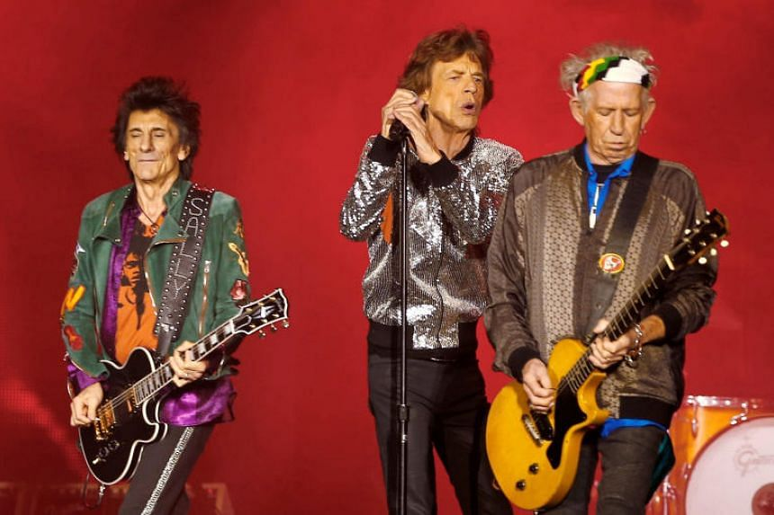 (From left) Ron Wood, Mick Jagger and Keith Richards of the Rolling Stones performs during the band's first concert of the No Filter European tour, at the Stadtpark in Hamburg, Germany, on Sept 9, 2017.