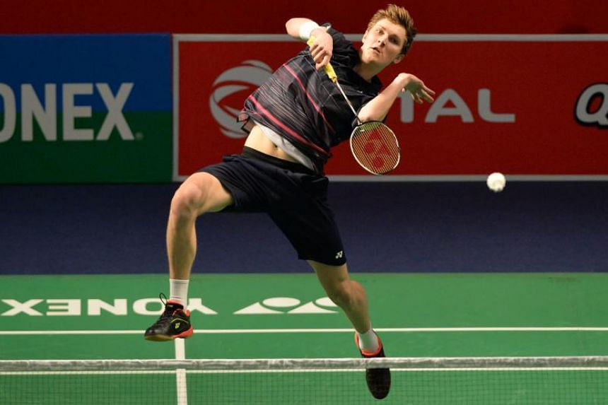 Denmark's badminton player Viktor Axelsen plays a return against Thailand badminton player Suppanyu Avihingsanon during the men's singles second round badminton match at the Yonex-Sunrise India Open 2019 in New Delhi on March 28, 2019.