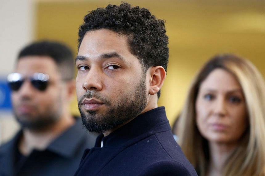 Jussie Smollett is seen after a court appearance in Chicago, Illinois.