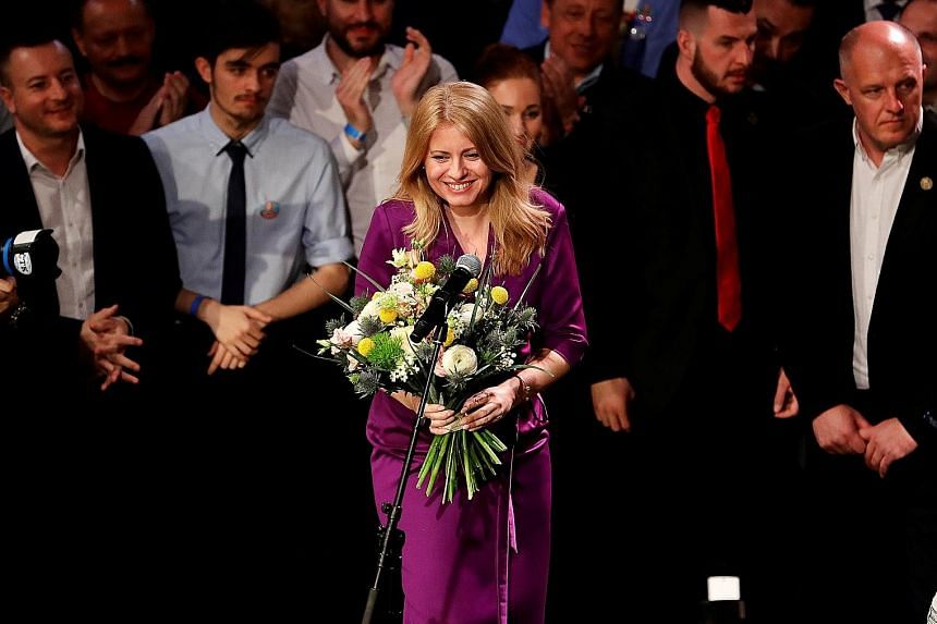 Slovakia's presidential candidate Zuzana Caputova at her Bratislava party headquarters last Saturday. The political newcomer's victory is viewed as a spark of hope that the tide has turned against the ethnic nationalist and populist movements that ha