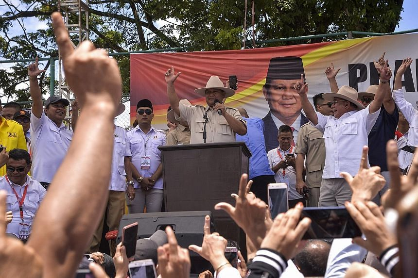 Presidential candidate Prabowo Subianto from Gerindra party speaking on his first day of campaigning in Manado, North Sulawesi, on March 24. The seventh-biggest province by population, South Sulawesi, is a big electoral prize.
