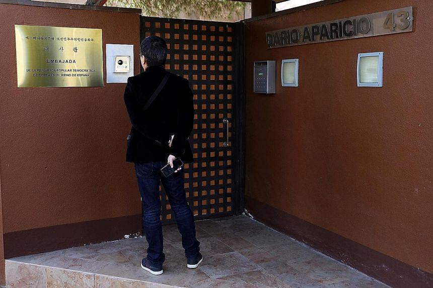 """North Korea's embassy in Madrid. Pyongyang has suggested possible FBI involvement in the Feb 22 raid on the embassy, and called on the Spanish authorities to bring the """"terrorists and their wire-pullers to justice""""."""