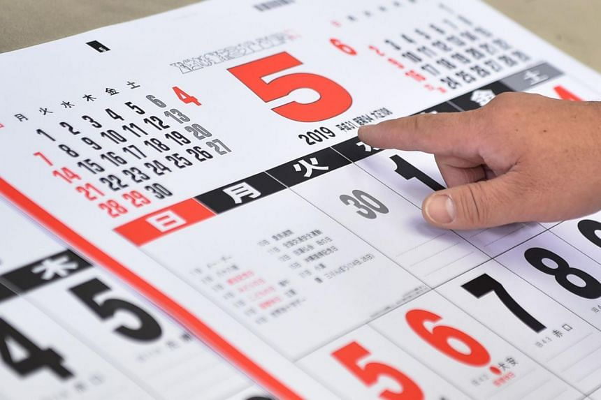 A printed 2019 (Heisei 31) calendar month of May at a factory of Japan's major calender maker Todan in the town of Ami, Ibaraki prefecture.
