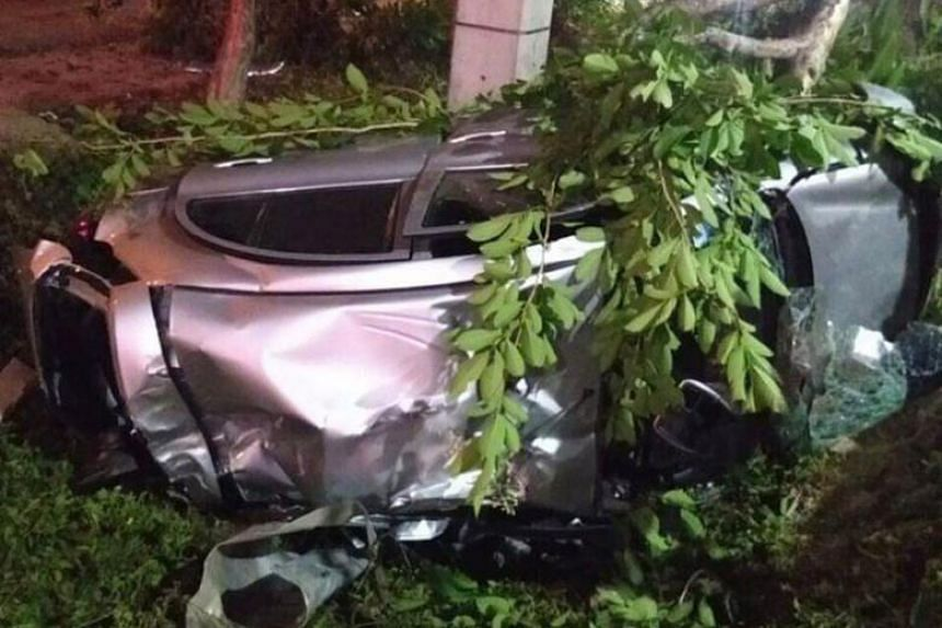 The accident scene in Chiang Mai. Singaporean Joshua Tan Xing Hao crashed his car into a tree in Chiangmai-Prao Road at around 3.40am local time on March 30.