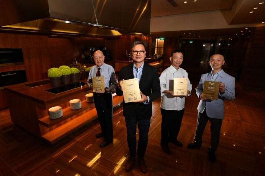 Gold award recipients (from left) group operation manager Jimmy Leung of Imperial Treasure Fine Teochew Cuisine (Ion); Chinese executive chef Cheung Siu Kong of Summer Pavilion; Master chef Chung Lap Fai of Hua Ting Restaurant; and  Master chef Koic