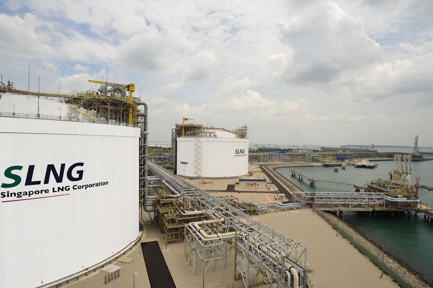 LNG storage tanks located at the Singapore LNG terminal on Jurong Island.