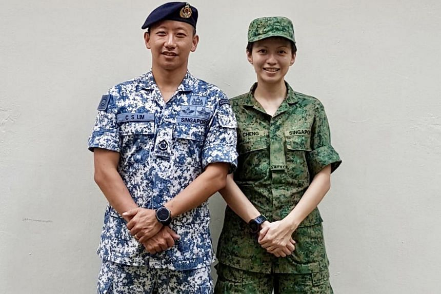 Ms Goh Pan Hui with her husband, Military Expert 4 Huang Guoquan from the Air Engineering and Logistics Department, in 2017. Ms Ng Li Shyan with her husband, Third Warrant Officer Tan Jian Yi who is in the guards formation, in 2017. Left: Ms Cheng Yi