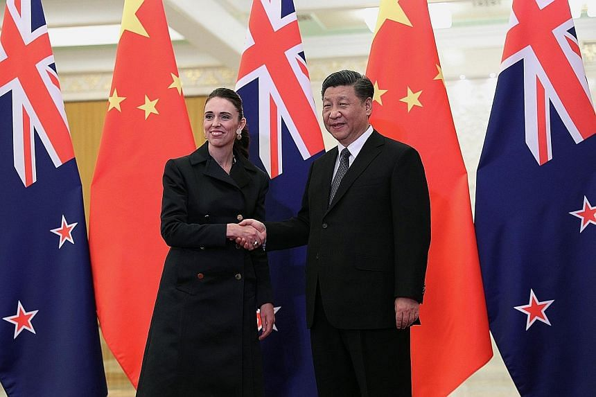 Chinese President Xi Jinping with New Zealand Prime Minister Jacinda Ardern before their meeting at the Great Hall of the People in Beijing yesterday. China is New Zealand's largest trading partner.
