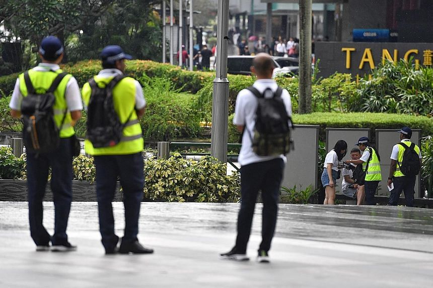 The smoking ban in Singapore's Orchard Road shopping belt was enforced yesterday, with offenders facing a composition fine of $200 or a court fine of up to $1,000. National Environment Agency (NEA) enforcement officers were seen booking smokers for l