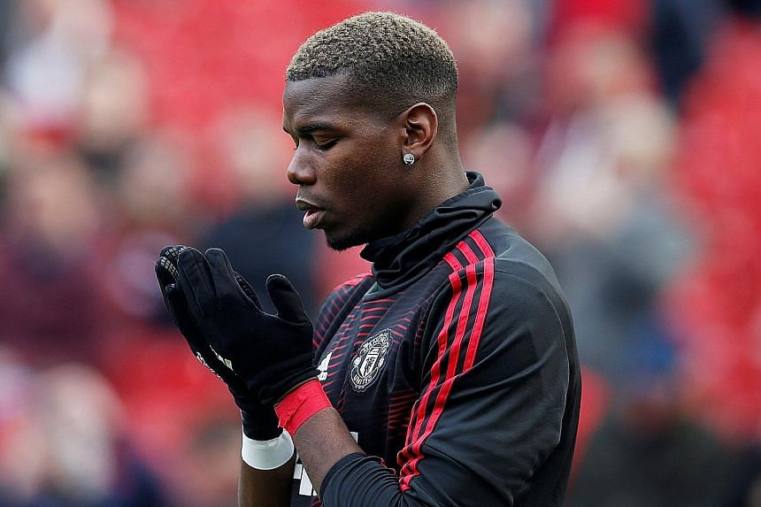 Paul Pogba praying before the EPL match against Watford last Saturday. He has regained his influence in the team since Ole Gunnar Solskjaer took charge in December.