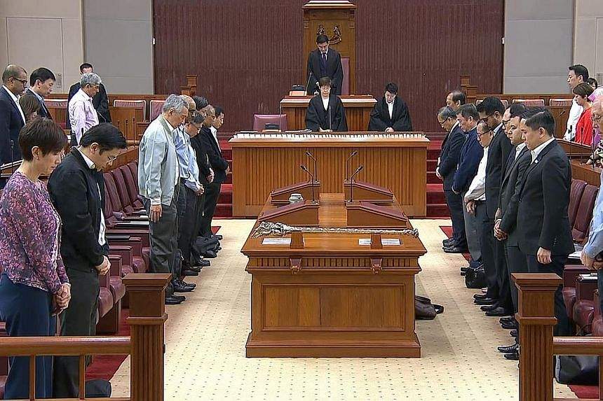 MPs observing a minute's silence in Parliament yesterday for the victims of the March 15 Christchurch shootings. Senior Parliamentary Secretary for Home Affairs Sun Xueling said the recent attacks in Christchurch and the Dutch city of Utrecht have un