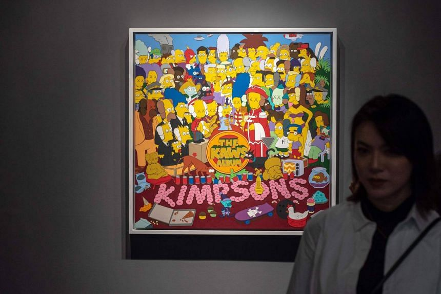 A painting by Brooklyn street artist Kaws based on the Beatles' Sgt Pepper's Lonely Hearts Club Band album but populated with Simpsons characters was sold for US$14.8 million including fees, a record for the artist and about 15 times the estimate.
