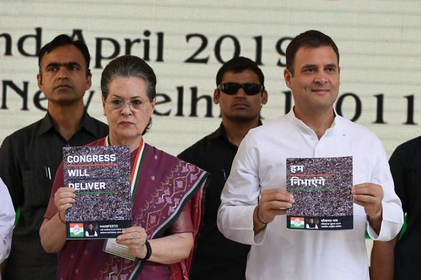 India's main opposition Congress party president Rahul Gandhi and the party's former president Sonia Gandhi launching the party election manifesto in New Delhi on April 2, 2019.