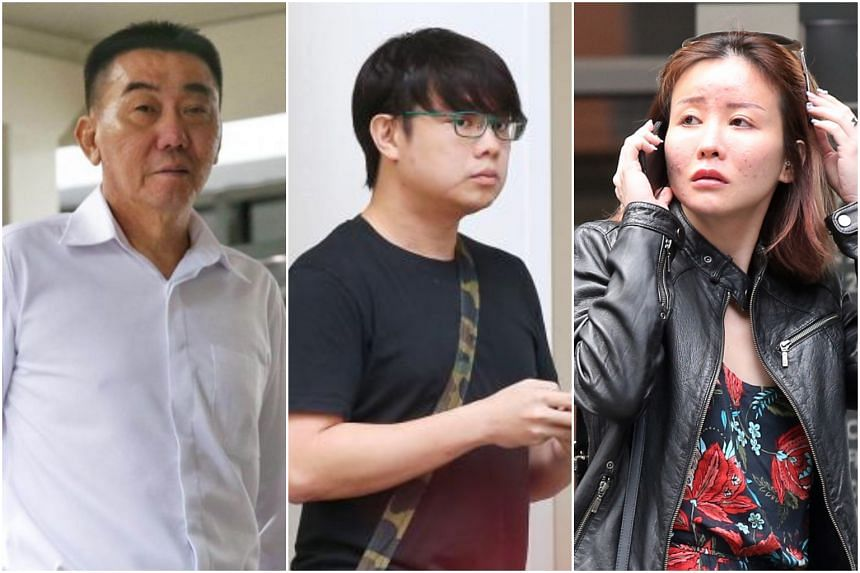 Owner of SNL Logistics Lim Hong Liang (left) was found guilty of taking part in a seven-person conspiracy to cause grievous hurt to Mr Joshua Koh Kian Yong (centre), the lover of Ms Audrey Chen Ying Fang.