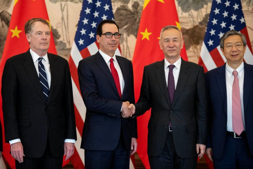 (From left) US Trade Representative Robert Lighthizer, US Treasury Secretary Steven Mnuchin, Chinese Vice-Premier Liu He and People's Bank of China governor Yi Gang at Diaoyutai State Guesthouse in Beijing on March 29, 2019.