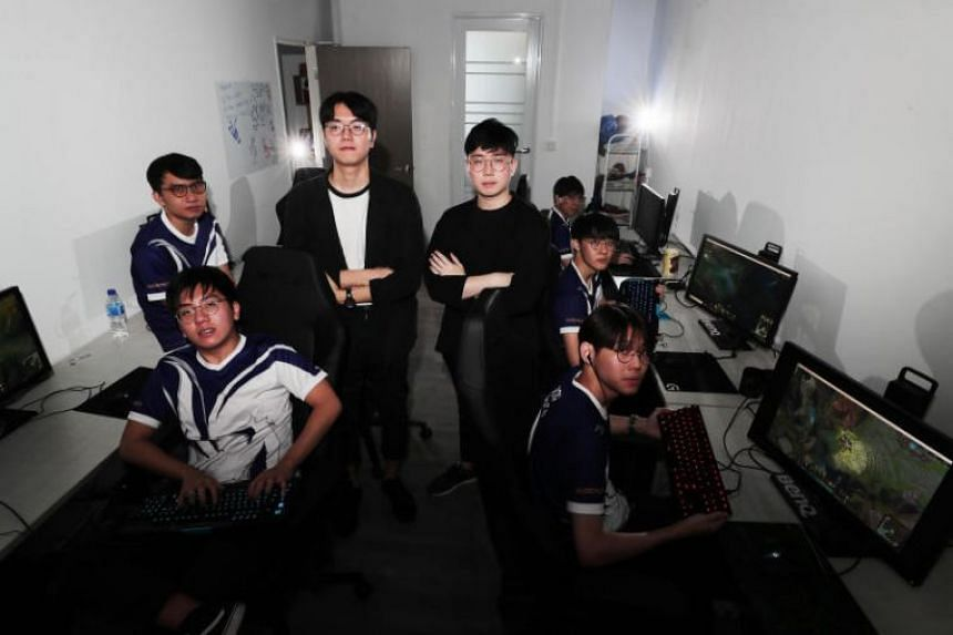 Members of local e-sports organisation Resurgence's League of Legends team during a training session at the organisation's training facility on Feb 9, 2019.