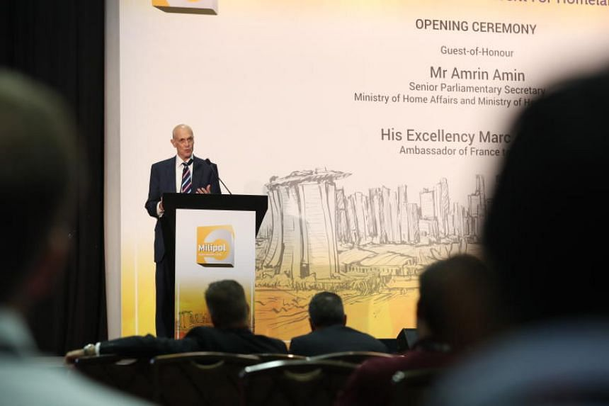 Former US secretary for homeland security Michael Chertoff giving his opening speech at biennial regional security conference Milipol Asia-Pacific, held at the Marina Bay Sands Sands Expo and Convention Centre.