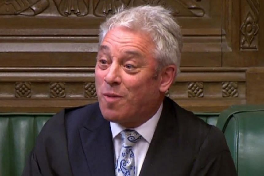 Speaker of the House of Commons John Bercow at a debate ahead of the second round of indicative votes on alternative options for Brexit, in the House of Commons in London on April 1, 2019.