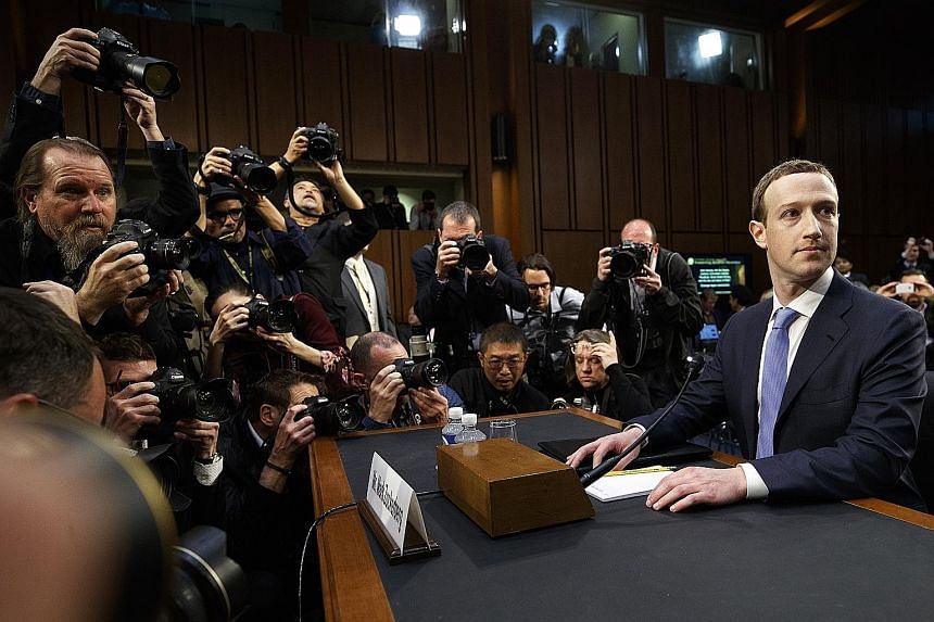 Facebook chief executive Mark Zuckerberg testifying at a Senate hearing in Washington last year. The social media giant is facing new European Union copyright rules that will require it to compensate publishers and creators for news articles, songs a