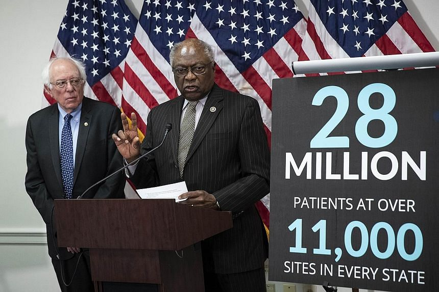 Representative James Clyburn speaking in Washington as he announced legislation to increase funding for community health centres and services. With him was Democratic Senator Bernie Sanders, who opposes the step-by-step expansion of Obamacare propose
