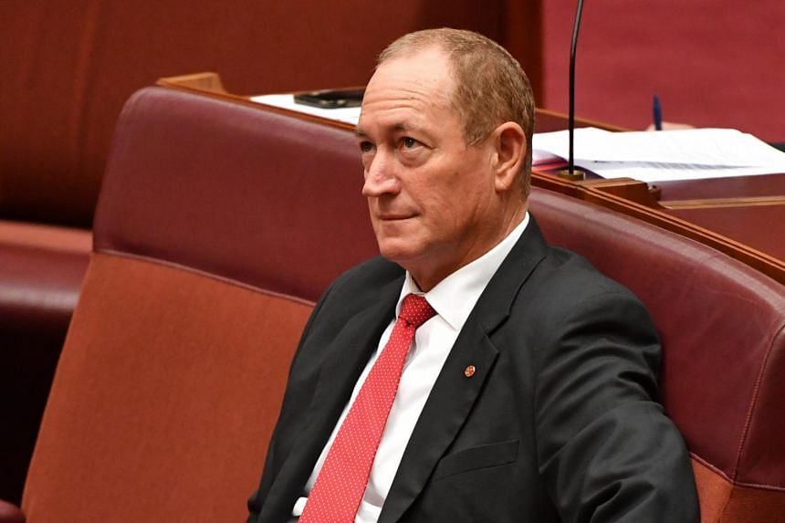 Senator Fraser Anning during a censure motion against him in the Senate chamber at Parliament House in Canberra, Australia on April 3, 2019.