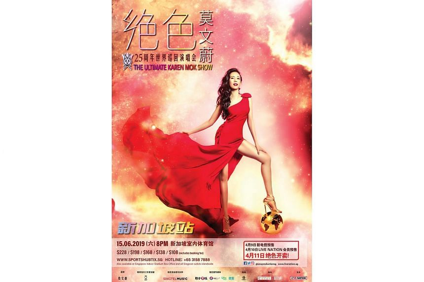 Hong Kong singer Karen Mok last performed here at The Star Theatre in 2016, putting on a 2½-hour show where she regaled her fans with hits such as He Doesn't Love Me and Without You.