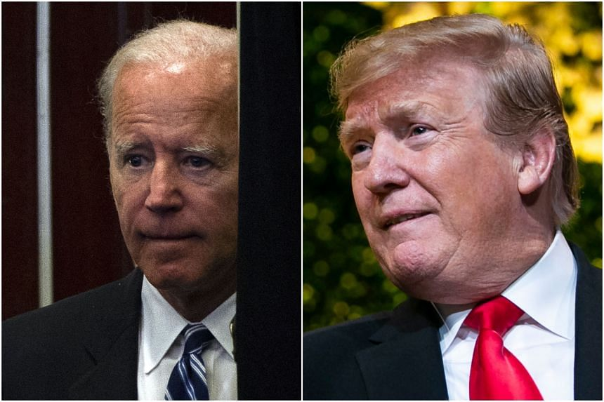 At a fundraising dinner, US President Donald Trump (right) twice alluded to allegations from two women that are hanging over potential US presidential hopeful Joe Biden.