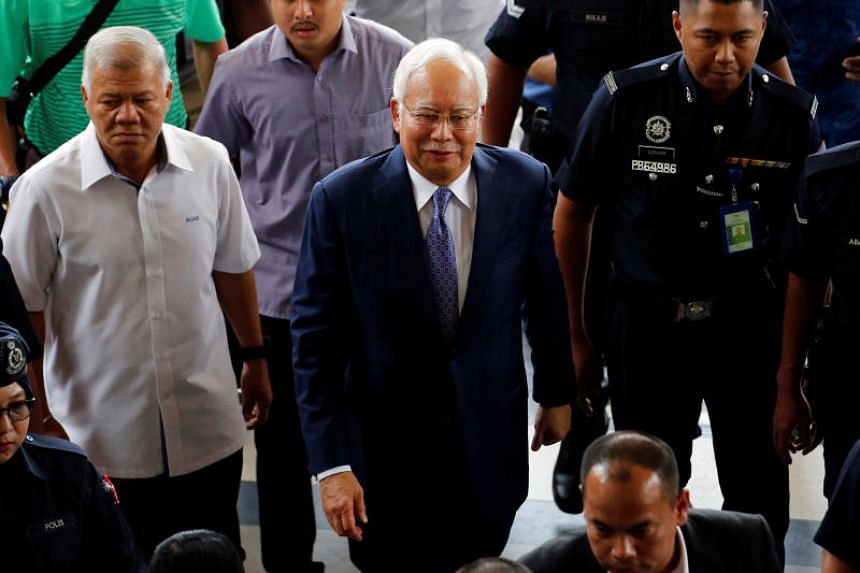 Former Malaysian prime minister Najib Razak arriving at the Kuala Lumpur High Court on April 3, 2019.