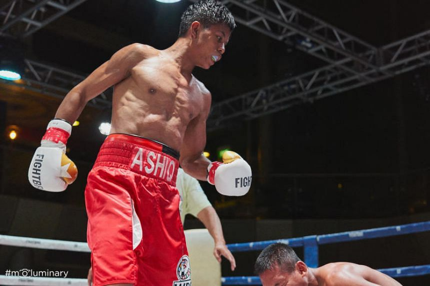 Local professional boxer Muhammad Ashiq (above) will take on Thailand's Thattana Luangphon in Bangkok on April 20 for the World Boxing Council youth world super bantamweight champion.