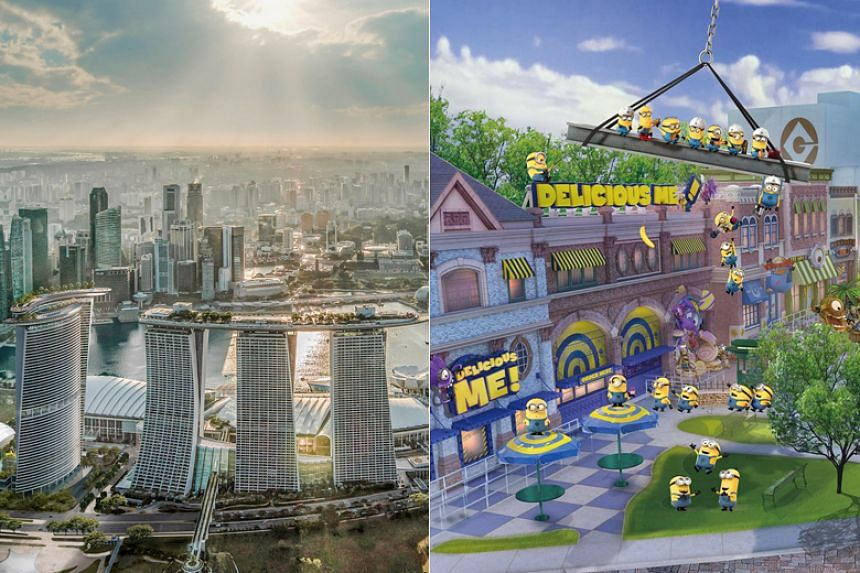 Artists' impressions of Marina Bay Sands' fourth tower and Minion Park at Universal Studios Singapore.