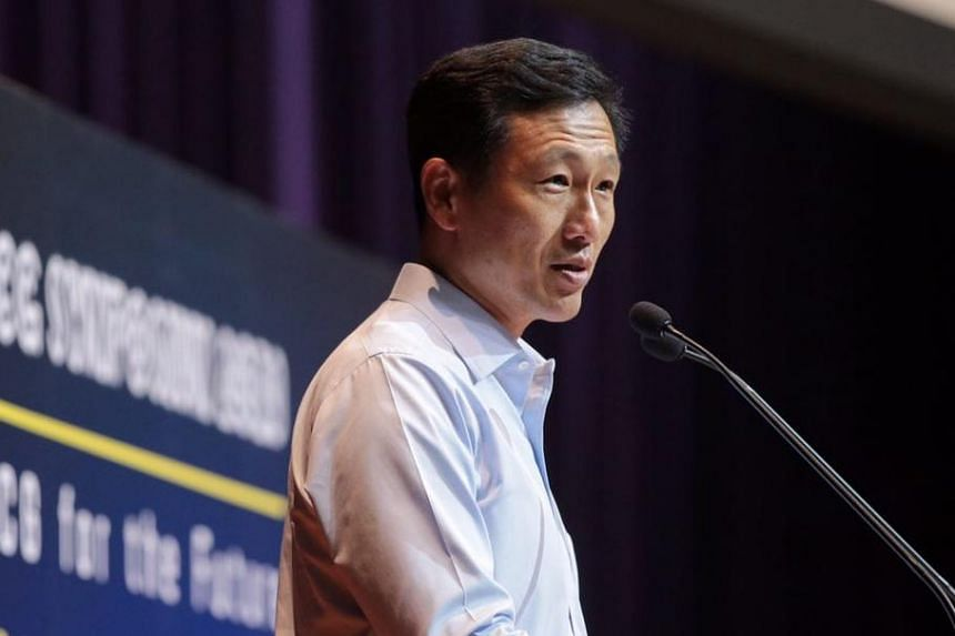 Education Minister Ong Ye Kung delivering a speech at the Education and Career Guidance Symposium at Ngee Ann Polytechnic, on April 3, 2019.
