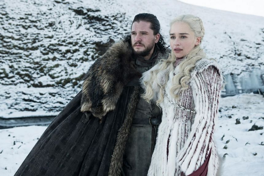 Still from Game Of Thrones starring Kit Harington and Emilia Clarke.