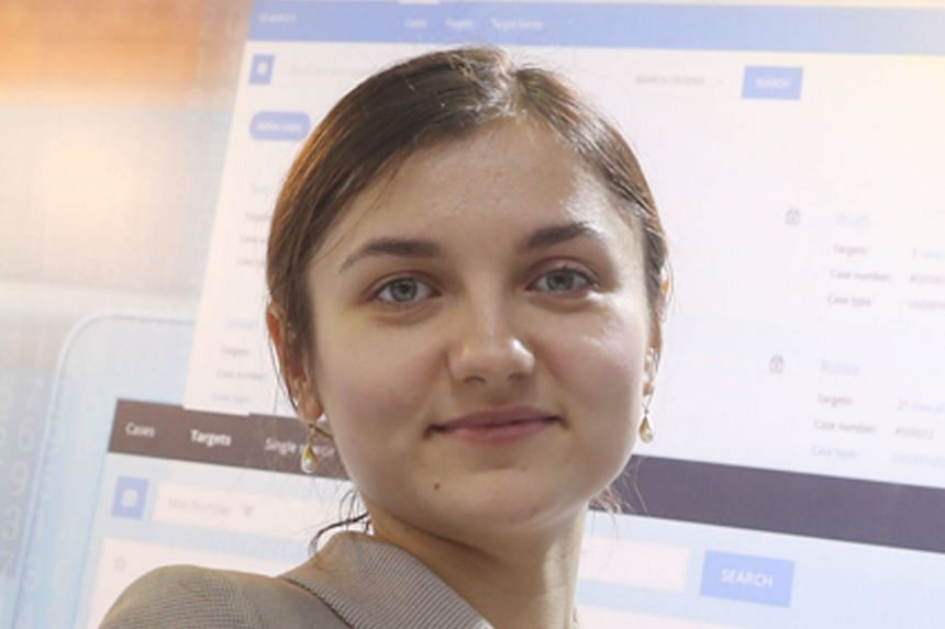Also shown were Apstec Systems' Human Security Radar (left), which screens people en masse for hidden explosives and firearms, and BLER Systems' WEBINT Center system, which account manager Alina Sobko (above) said can be used to monitor suspects on s