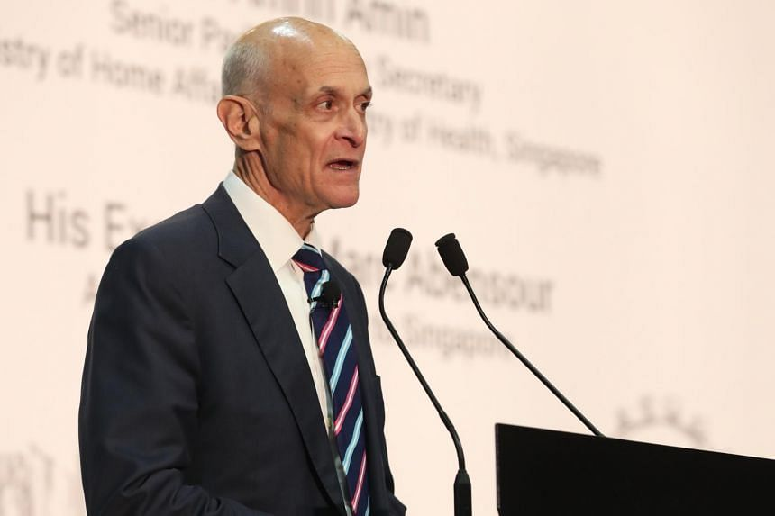 Former United States secretary for homeland security Michael Chertoff speaking at the regional security conference Milipol Asia-Pacific 2019 at Marina Bay Sands Expo and Convention Centre on April 3, 2019.