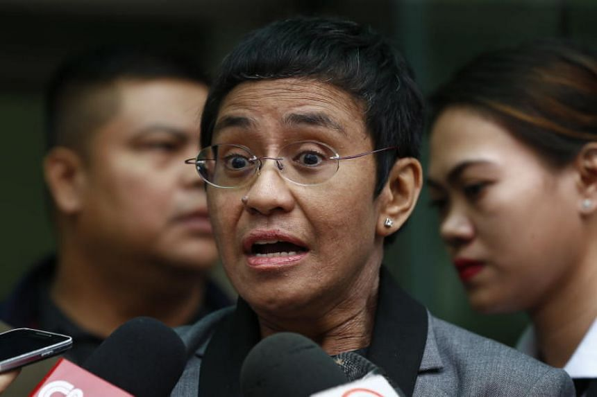 Philippine journalist Maria Ressa speaks to the media after her arraignment on tax-related charges at the Court of Tax Appeals in Quezon City, east of Manila, Philippines on April 3, 2019.