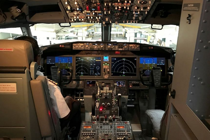 The cockpit of a Boeing 737 Max 8 aircarft.