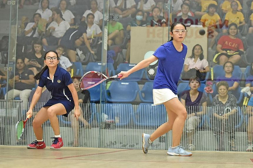 """Rachel Tan """"taking no Ls"""" in her 3-0 win over MGS' Michelle Lai that clinched a second-straight B Division crown for SCGS."""