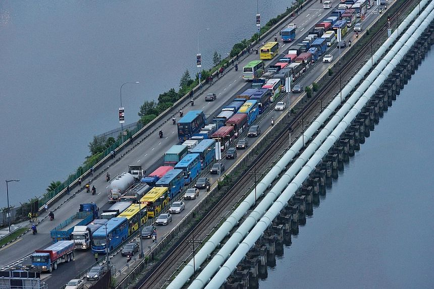 Heavy traffic along the Causeway in July last year. Congestion at the Singapore land checkpoints was reportedly worse than usual on Monday, according to Malaysian paper The Star. That was the day new measures denying entry to foreign vehicles with ou