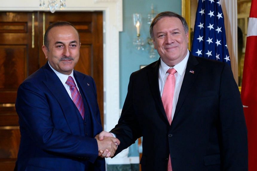 Turkish Foreign Minister Mevlut Cavusoglu and US Secretary of State Mike Pompeo held talks on April 3, 2019, during the Turkish official's visit to Washington as part of 70th anniversary celebrations of the Nato alliance.