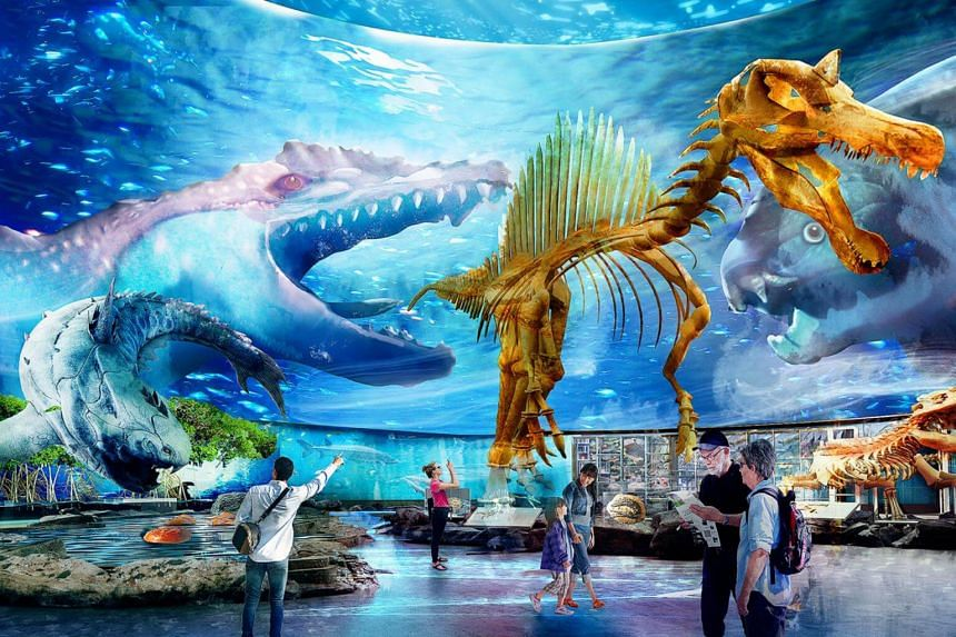 An artist's impression of the Evolution & Extinction zone at the Singapore Oceanarium, which is a rebranding of the S.E.A Aquarium. It will have three times the space of the current aquarium and will have features such as holograms of the deep sea, a