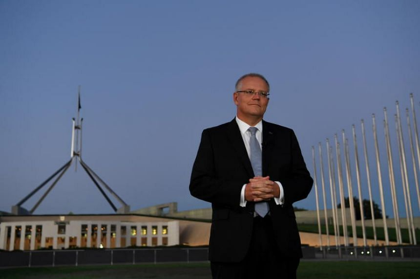 Australian Prime Minister Scott Morrison outside Parliament House during morning TV interviews following the handing down of last night's Federal Budget at Parliament House in Canberra, Australia, 03 April 2019.
